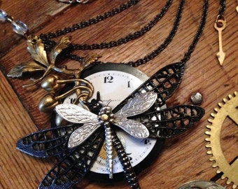 Dragonfly Necklace, Steampunk Dragonfly Jewelry, Insect Jewelry, Statement Necklace, Made in USA,
