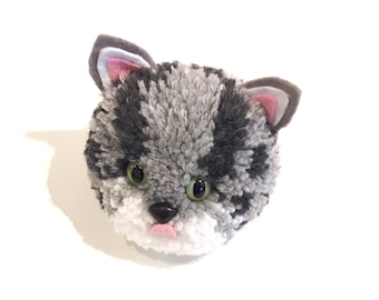 Pom Pom Grey Striped Cat Handmade with British Wool Pom-pom Pets by SusieDDesigns Collectable Animal Gifts
