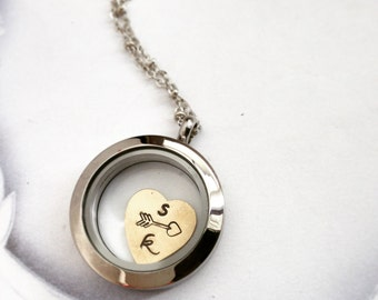 Bridal necklace, Personalized jewelry initial necklace, heart jewelry two initials, floating locket, gift for her, memory locket, for wife