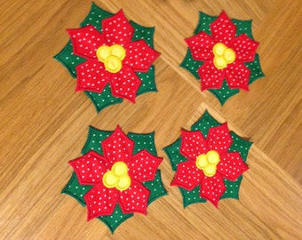 Set of 4 Poinsettia Drink Coasters