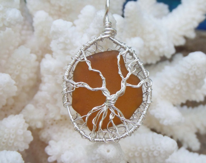 Tree of Life Ornament with Brown Sea Glass - Lake Michigan Beach Glass Tree of Life - South Shore Beach Glass by Goofy Moose