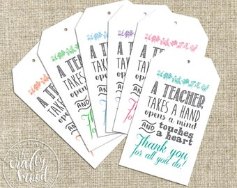6 Teacher Gift Tags - Instant Download Printable