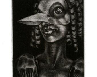 "Mezzotint - ""Bird with Ringlets"" - masquerade party-goer - original artwork by Nancy Farmer, unframed. Plague Doctor Mask, Venetian, Fantasy"