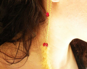 Handmade Gold Earcuff Shoulder Duster with Feather and Red Glass Beads on Gold Chain Dangle
