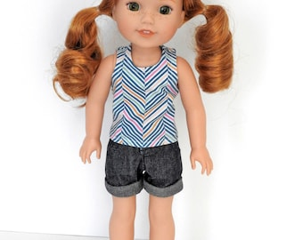 14.5 inch Doll Clothes Shorts and Tank Top fits Wellie Wishers Doll