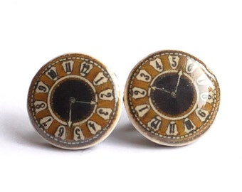 Vintage Clock Face Stud Earrings - Victorian Steampunk Jewelry - Brown, Black, Old - Christmas Gift