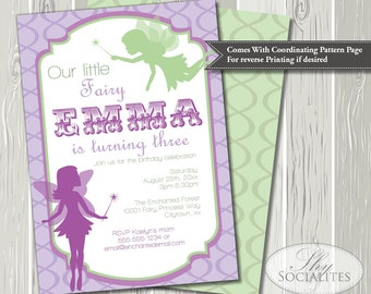 Purple and Green Fairy Birthday Invitation | Pixie Invitation, Fairy Invitation, Fairy Party, Fairies | Printed or Printable Invitations