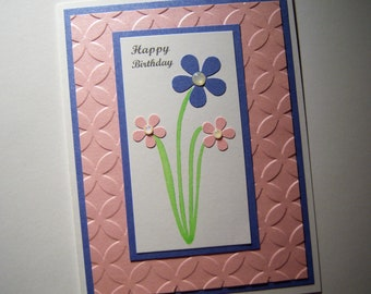 Pink and Blue Posies Birthday Card