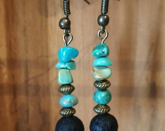 Earrings in turquoise and lava stone