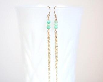 Chrysoprase Earrings, Chrysoprase 14K Gold Filled Dangle Drop Earrings, Chrysoprase Silver Chain Earrings, Chrysoprase Fringe Earrings