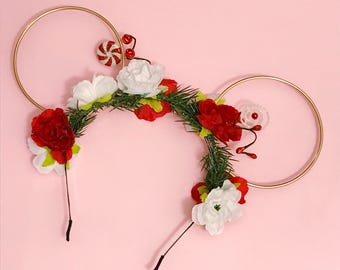 Peppermint Dreams Flower Crown and Gold Wire Mouse Ears Headband