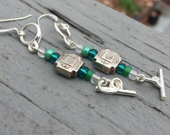 Dangle earrings, boho earrings, edgy earrings, hippy earrings, trendy earrings, gypsy earrings, green earrings, gift earrings