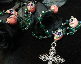 Hand painted Day of the Dead Sugar Skull Rosary