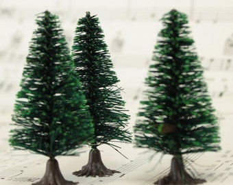 "2"" Bottle Brush Trees - 5 Pieces miniature doll house tree miniature tree fairy garden diorama mini trees tree set- 218-0256"
