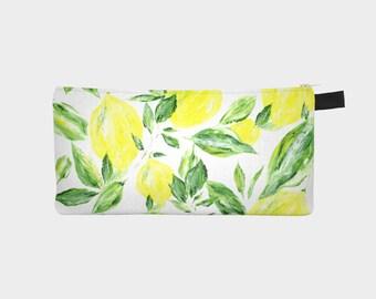Lemon Pencil Pouch, lemon makeup bag, lemon bags, yellow pouch
