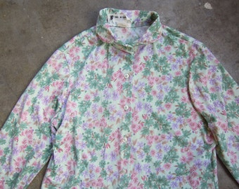 Vtg 70s Retro Mint Floral Jersey Knit Peter Pan Collar Polyester Shirt Small Medium