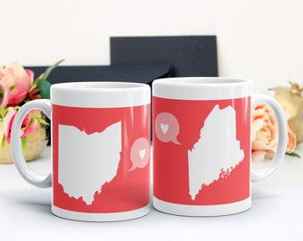 Best Friend Gift, Birthday Gift, Two State Mug, Personalized State/Country Mugs, Moving Gift, Grandparent Gift, Out of Town gift