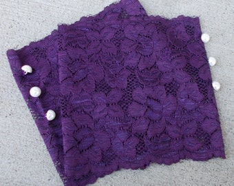 Purple Lace Boot Cuffs, Lace Boot Socks Buttons, Gifts for Teen Girls, Small Gifts for Women, Lace Leg Warmers, Boot Accessories