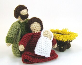 Nativity Crochet Pattern - Baby Jesus, manger, Mary and Joseph - Playscape - Christian Christmas Crochet Pattern - Nativity Dolls - creche