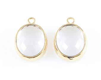 2pcs Clear Faceted Glass Charms in Gold, Framed Oval Pendant / Birthstone / April / Crystal / 12mm x 16mm / GCLG-009-P