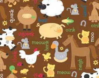 FLANNEL Barnyard in Brown Chicks Cows Pigs 100% Cotton by Riley Blake  Sold by 1/4, Half 3/4 a Yard or a Yard Sewing /Quilting Alpine