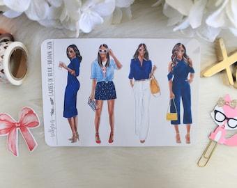 Ladies in Blue, Brown Skin, Planner Stickers