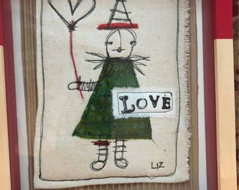 Funky Fun Free Motion Embroidery Love Valentine OOAK