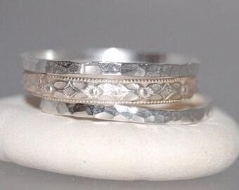 Set of 3 Stacking Rings, Stacking Set Sterling Silver Rings, Sterling Silver Stacking Rings, Silver Stacking Rings, Stacking Ring Set