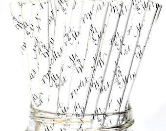 Mr & Mrs, Wedding Straws, Wedding Shower, Paper Straws, Engagement Party, Bridal shower, Elegant Straws, Drinking Straws, Party Straws, 10