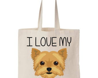 I Love My Yorkie Yorkshire terrier Canvas Tote Bag
