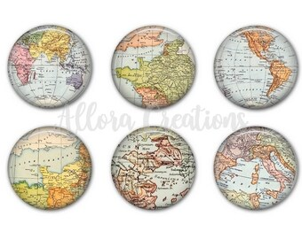 Map Magnets, Map Pinback Buttons, World Map Magnets or Pinbacks, M010