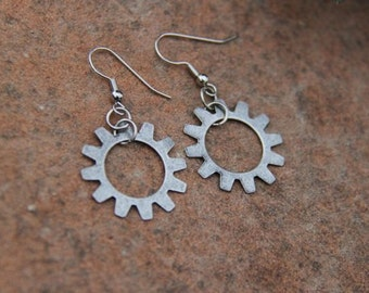 Bike Earrings with Open Gear Brushed Silver