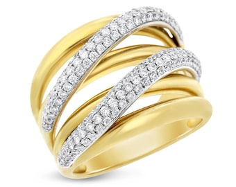 1.10 Ct. Natural Diamond Crossover Wave Curved Ring In Solid 18k Yellow Gold