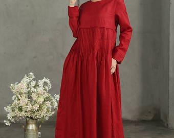 Maxi Linen Dress, Red Dress, Pleated Waist Dress, Red Linen Dress, Burgundy Dress, Long Maxi Dress, Loose Fitting Dress, Long Linen Dress