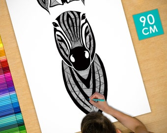 Poster / Poster deco coloring (90cm) Zebra - coloring for adults