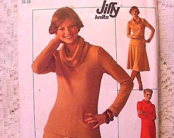 1970's Vintage Simplicity 7750 Pattern 1976 Knit Pullover Dress or Top Cowl Collar and Skirt  Size 16 Sewing