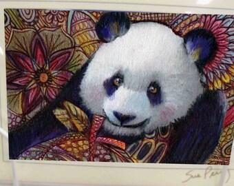 greeting card zentangle panda bear blank card