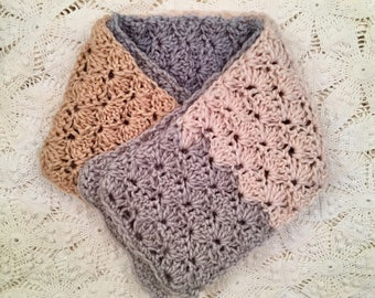Hand-made Crochet Scarf - Shell Pattern - Soft Warm - Neutrals - Blue Gray Cream Tan Ivory