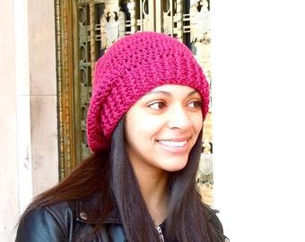 Crochet Slouchy Hat, Women, Men, Teen, Tam, Berry, Ready To Ship,