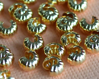 100pcs 5mm Crimp Cover Gold Plated Brass Corrugated Knot Covers Jewelry Findings