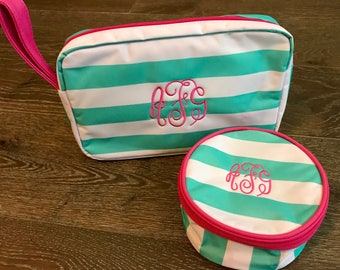 Monogram SET - Monogrammed Teal Stripe Travel Bag and Jewelry Case - Jewelry Holder