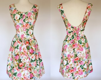 1990s sundress, floral cotton mini fit and flare, sleeveless, scoop back dress with bow, Large