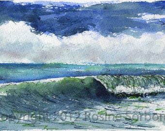 """aceo, """"Summer Wave"""", ocean, giclee, dollhouse painting, atc, miniature, seascape, watercolor giclee"""