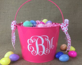 Personalized pink Easter basket, Easter bucket, Easter pail with Monogram.  Most vinyl colors available.