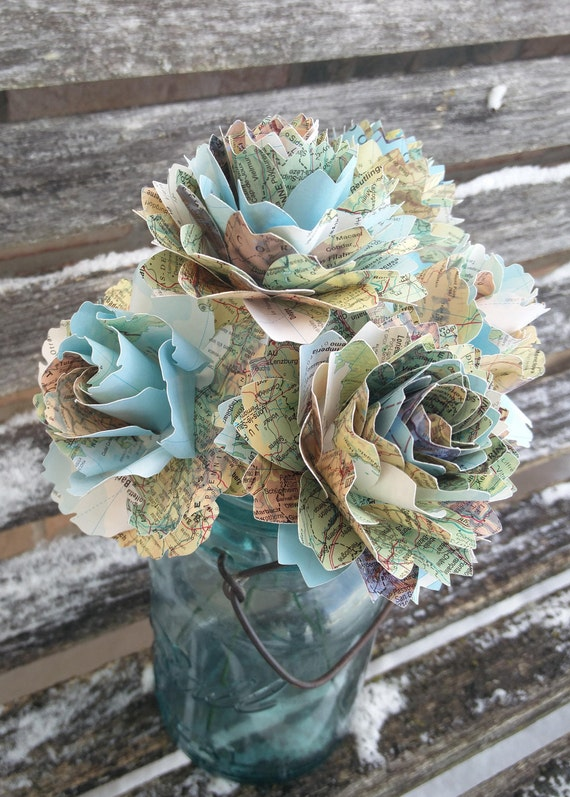 Map Flowers, Half Dozen. Roses & Dahlias. Centerpiece, Wedding, Paper Flower Bouquet
