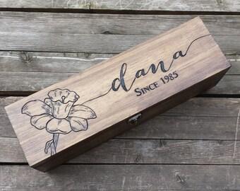 21st birthday wine gift box, personalized bridesmaid gift box, custom wedding wine box, keepsake box, love letter box, anniversary gift