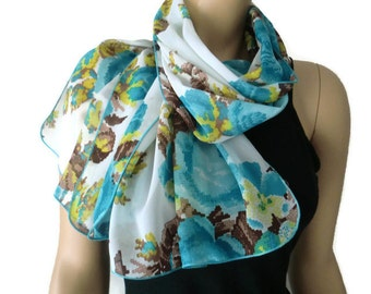 blue white and green long chiffon scarf with cross stitch print-Parisian Neck Tissu