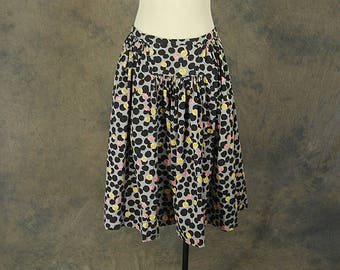 Clearance SALE vintage 50s Skirt - 1950s Novelty Print Pink and Yellow Bubbles Full Skirt Sz M L
