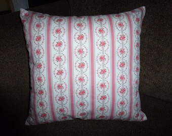 Shabby Roses Pink and White Vintage Ticking Pillow COVER