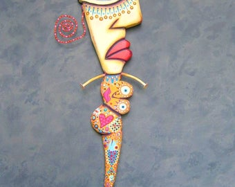 Totally Tubular Mermaid, Original Found Object Wall Sculpture, Wood Carving, Mermaid Wall Art, Abstract Art, by Fig Jam Studio